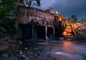 Adirondack river and hydroelectric project at blue hour