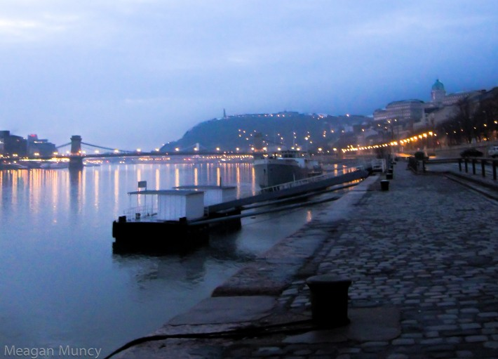Looking along the Buda side of the Danube Promenade.